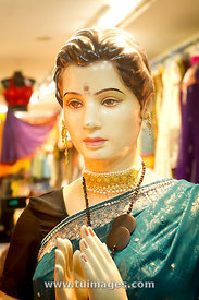 mannequin in indian dress, little india, singapore