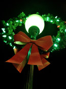 Christmas wreath on street lamp
