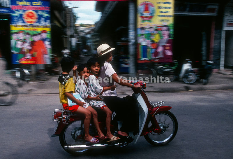 Family on a scooter.Hanoi, Vietnam