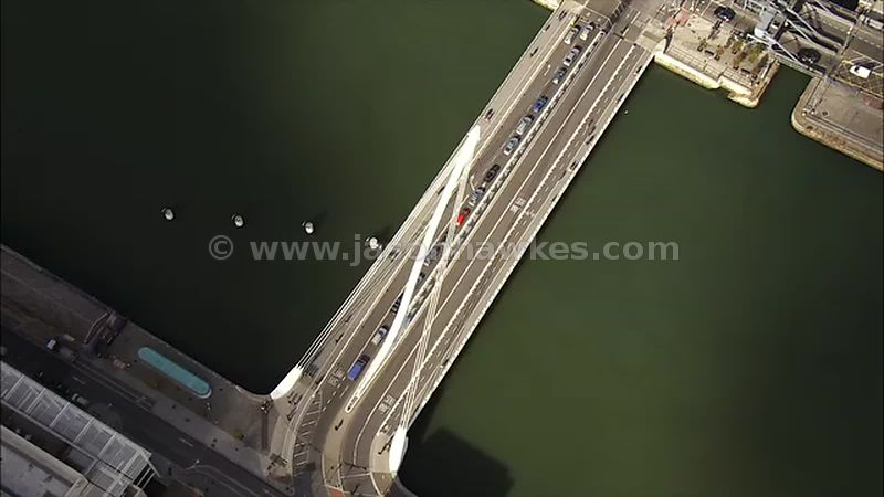 Aerial footage of Samuel Beckett Bridge, Dublin, Ireland