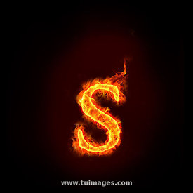fire alphabets, small letter s
