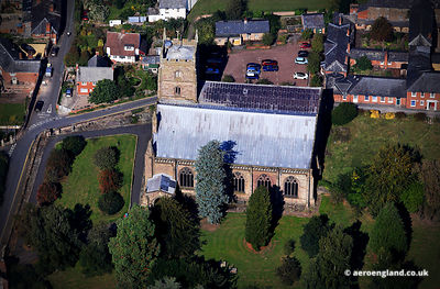 aerial photograph of Leominster Priory Church Herefordshire England UK