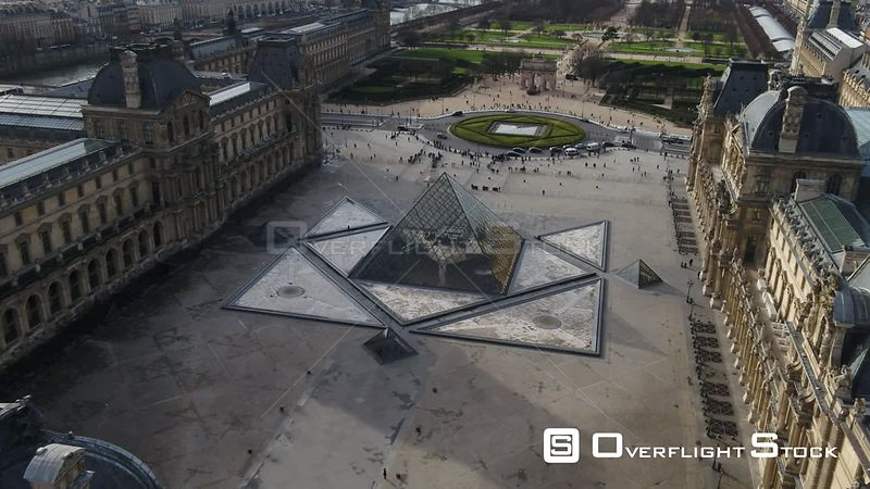 Drone Footage Louvre Pyramid and Museum Eiffel Tower Paris France