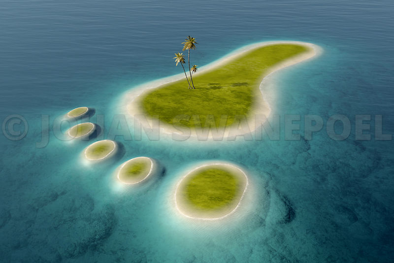 Eco footprint shaped island
