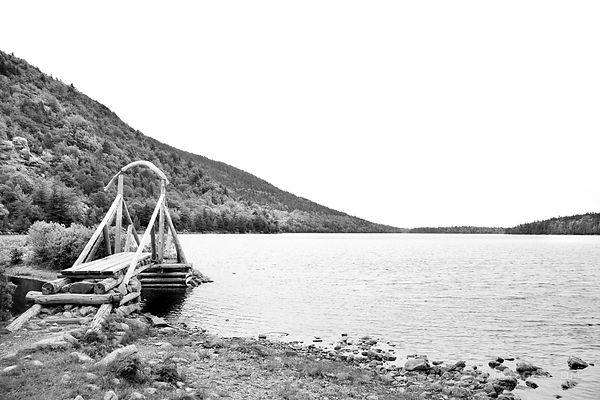 JORDAN POND ACADIA NATIONAL PARK MAINE BLACK AND WHITE