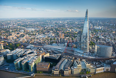 Aerial viiew of London Bridge Station and The Shard, London