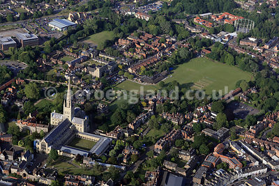 aerial photograph of Norwich , Norfolk, England UK.