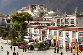 Lhasa and the Potala Palace photogrphed from the Jokhang Temple.