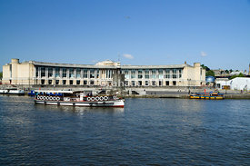 tourist boat and lloyds bank building floating harbour bristol england