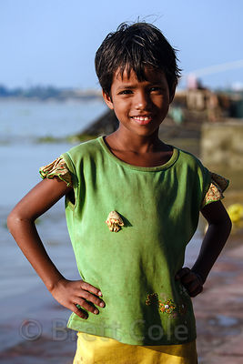 Portrait of a girl along the Hooghly River, Sovabazar, Kolkata, India.