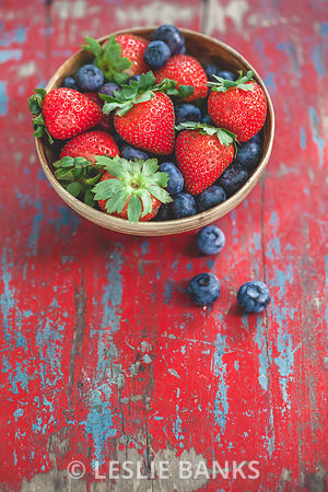 Bowl of Blueberries and Strawberries