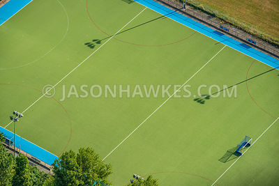Aerial view of London, overhead view of sports pitch.