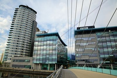 BBC Buildings viewed from the Media City Footbridge