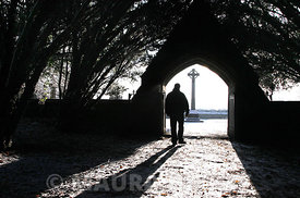 Paul Kivlehan, Seminarian for the Diocese of Achonry,  from Tubbercurry, Co. Sligo taking a walk at Maynooth College grave yard..08.01.09..Pic. Maura Hickey/086 8541130.