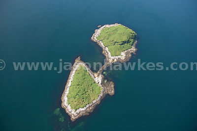 Aerial view of island near Lismore, Scotland
