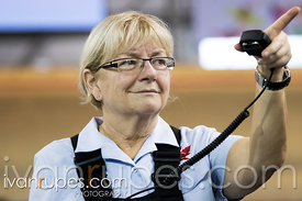 The chief commissaire Louise Lalonde. Canadian Track Championships (U17/Junior), April 3, 2016