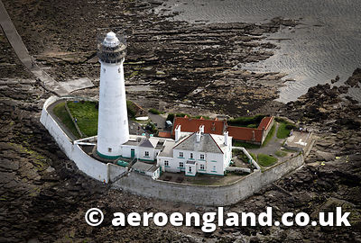 aerial photograph of St Marys  Lighthouse  in Tyne & Wear North East England  UK