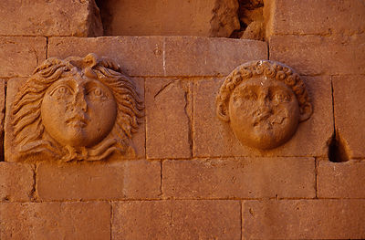Iraq - Hatra - Reliefs on the wall of a building