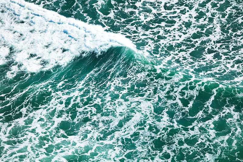 Aerial photograph of breaking waves, Cape Agulhas, South Africa, Western Cape Province, Indian Ocean, August 2009