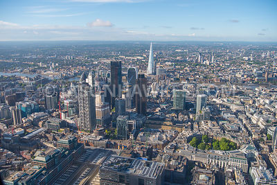 Aerial view of City of London with The Shard in the background