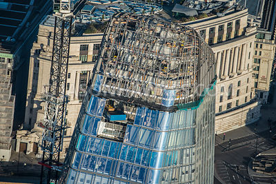 Aerial view of London, South Bank with 1 Blackfriars Road construction of the roof.