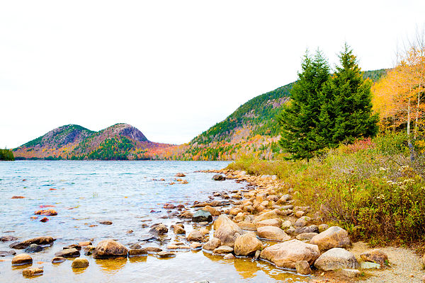 JORDAN POND AND THE BUBBLES MOUNTAINS ACADIA NATIONAL PARK MAINE