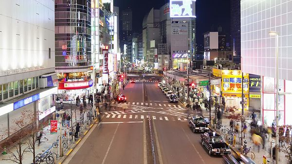 Close Up: X Marks The Crosswalk, White Lights Of Shinjuku