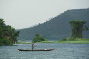 Canoe on the Lower Volta River, Akosombo, Ghana
