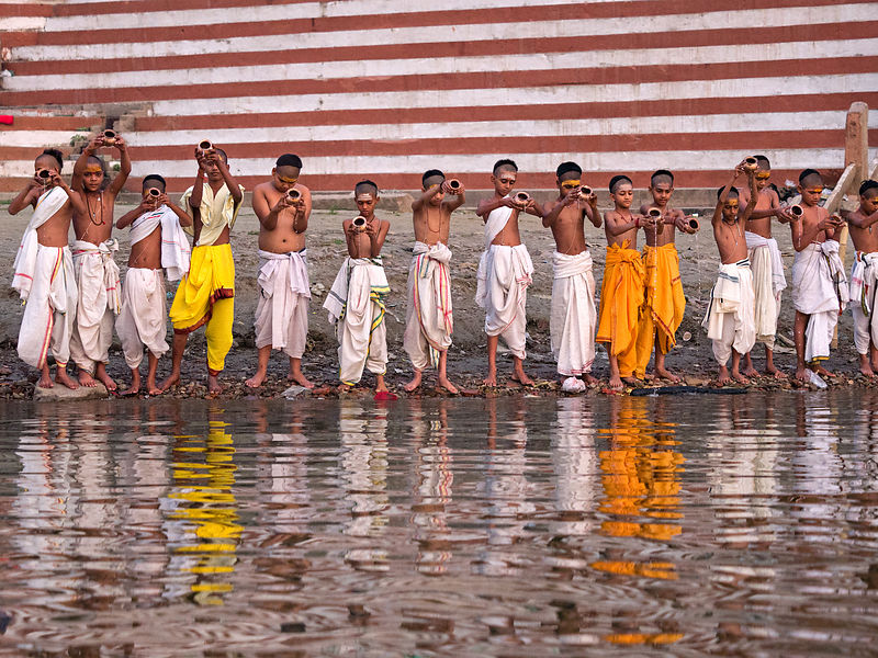 Offering prayers at the Ganges