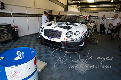 Preparing to race. Bentley Continental GT3 in the M-Sport garage, pre-race, at the Silverstone 500 - the third round of the British GT Championship 2014 - 1st June 2014