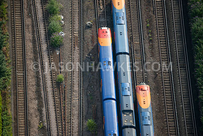 Aerial view of London, close up of railway lines.