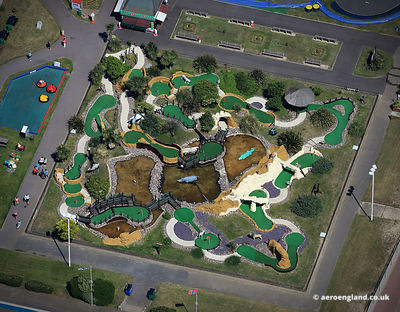 aerial photograph of Crazy Golf Course  in  Great Yarmouth.