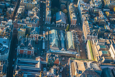 Aerial view of London, Henrietta Street and King Street, Covent Garden.