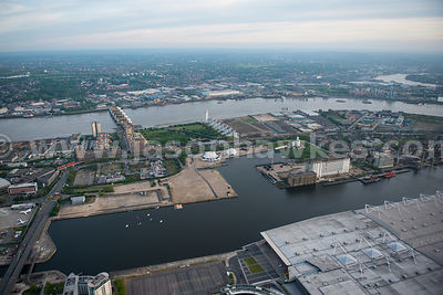 Aerial view of the Royal Docks, London