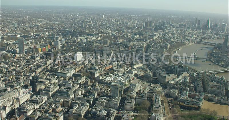 London Aerial Footage of St James's towards Piccadilly Circus and Leicester Square.