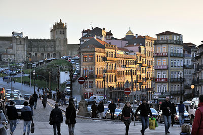 The Cathedral district at dusk. Oporto, Portugal