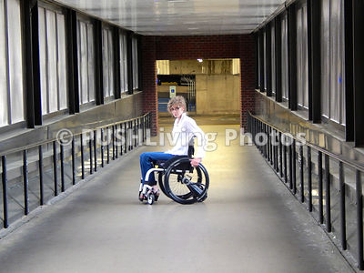 Female doctor in a wheelchair at the end of her shift