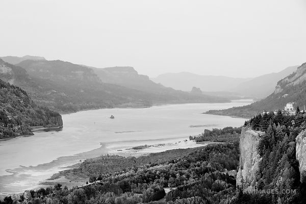 VISTA HOUSE CROWN POINT AT SUNSET FROM CHANTICLEER POINT COLUMBIA RIVER GORGE OREGON BLACK AND WHITE