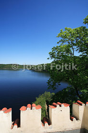 Viev from the Orlik Castle to the Orlik Artifical Lake on the Vltava River, Czech Republic