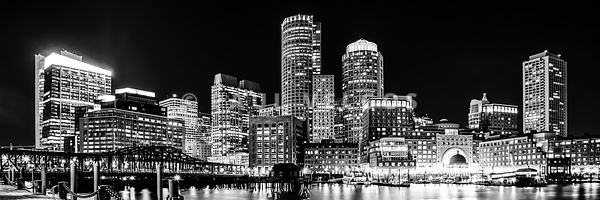 Boston Panorama Cityscape Black and White Photo