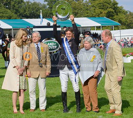 Andrew Nicholson and AVEBURY's owners, Rosemary and Mark Barlow with the Land Rover Perpetual Challenge Trophy - The Prize Giving, Burghley Horse Trials 2014.