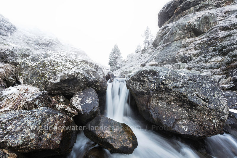 Winter in Pyrenees-white stream