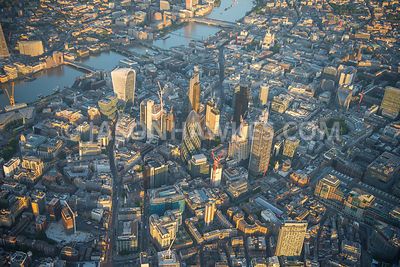 Aerial view of London, 20 Fenchurch Street, Leadenhall Building and St Mary's Axe.
