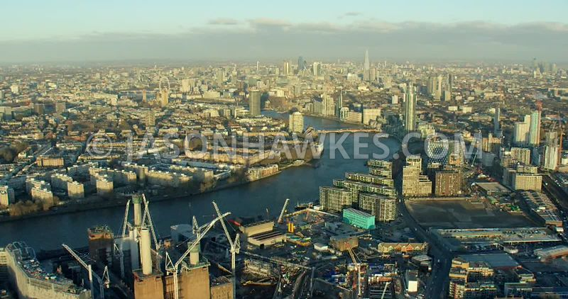 Aerial footage Nine Elms and Pimlico