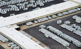 Aerial photograph of FedEx trucks in Memphis, Tennessee