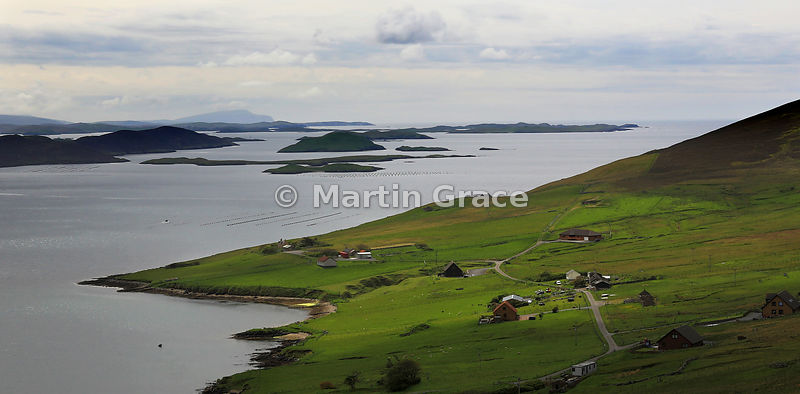 Looking south over Weisdale Voe to the islands of Greena, Flotta, Hoggs of Hoy, North Havra and Hildasay, Central Mainland, Shetland