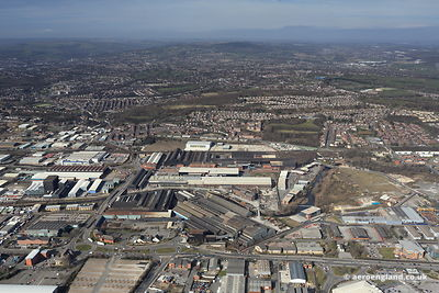 aerial photograph of Sheffield South  Yorkshire England UK showing the Don Valley  Attercliffe areas around Attercliffe Common.