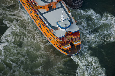 Aerial view of a ferry on the Hudson River