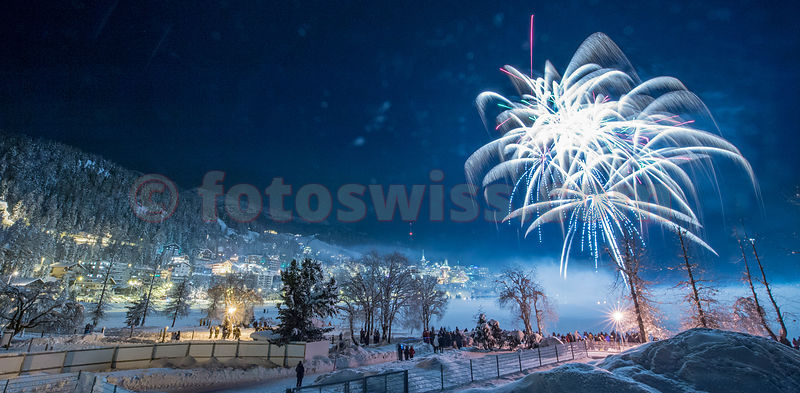 Saint Moritz New Year Fireworks on frozen Lake photos