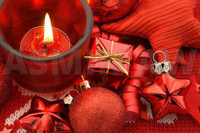 Red holiday decoration - baubles,star,gift and candle